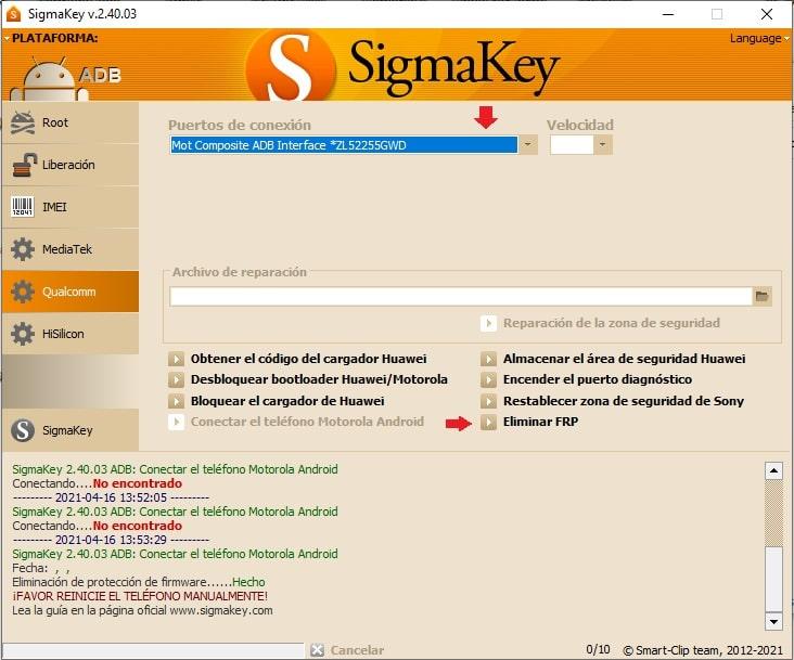 Quitar cuenta de Google o FRP del Moto E5 XT-1944-3 con Sigma Box